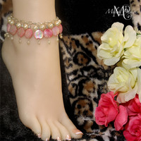 White Pearl Pink MOP Shell Dangle Anklet Bridal Jewelry