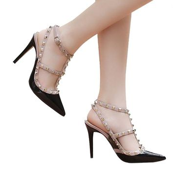 New 2018!  Summer Fashion Pumps Pointed Slingback Studded T-Strap
