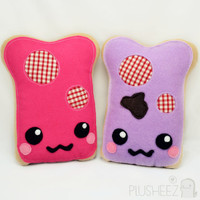 Kawaii plush toys toast jame peanut butter jelly berry jam geekery