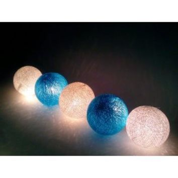 I Love Handicraft Blue Sky Color Tone Cotton Ball String Lights Patio Wedding and Party Decoration (20 Balls/set)