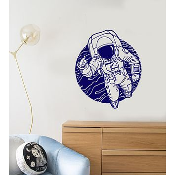 Vinyl Wall Decal Moon Cosmos Astronaut Costume Space Stickers (3844ig)
