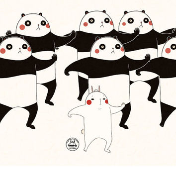 Kungfu Panda inspired kawaii illustration blank greeting card
