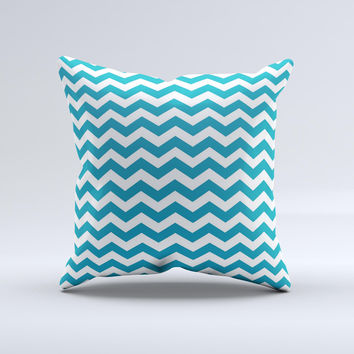 Subtle Blue & White Chevron Pattern V2  Ink-Fuzed Decorative Throw Pillow