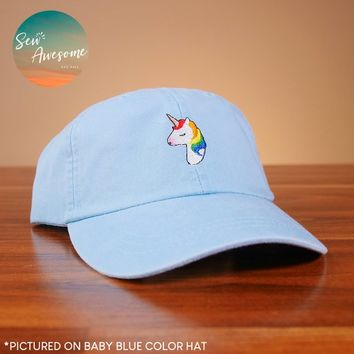 Rainbow Unicorn Dad Hat, Embroidered Animal Baseball Cap, Cute Dad Hats, Girlfriend Gift, Unicorn Dad Caps