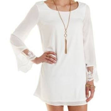 Ivory Embroidered Cuff Chiffon Shift Dress by Charlotte Russe
