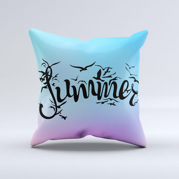 The Summer Black Seagulls ink-Fuzed Decorative Throw Pillow