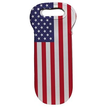 4th of July American Flag Wine Tote Bag