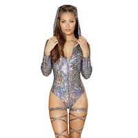 Holographic Long Sleeve Hooded Zipper Rave Bodysuit