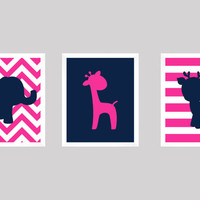 Hot Pink and Navy Giraffe Elephant and Deer, CUSTOMIZE YOUR COLORS, 8x10 Prints, set of 3, nursery decor nursery print art baby room decor