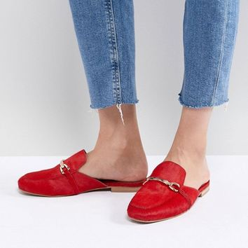 ASOS DESIGN Movie Leather Mule Loafers at asos.com