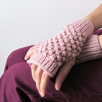 Hand Knit Fingerless Gloves in Pinkish Powder - Trinity Stitch Arm Warmers - Seamless Knit Gloves - Winter Fashion - Ready to Ship