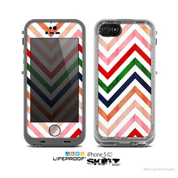 The Vibrant Fall Colored Chevron Pattern Skin for the Apple iPhone 5c LifeProof Case