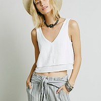 Free People Womens Double Layer Crop Tank