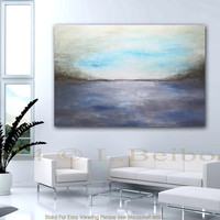 Massive abstract landscape painting 46 x 68 large modern abstract art contemporary big landscape by L. Beiboer