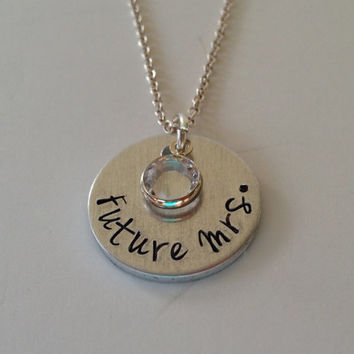 "Hand Stamped ""Future Mrs."" Necklace with Birthstone / Hand Stamped ""Future Mrs."" Pendant / Bridal Shower / Bacherlorette Party"