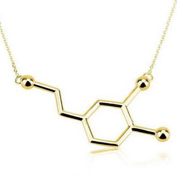 yiustar New Dopamine Molecule Dainty Necklaces for Women Elegant Long Chain Small Pendant Chemistry Necklace Jewelry -N140