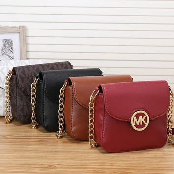 michael kors simple casual fashion letter print metal chain single shoulder messenger bag mk women small bag