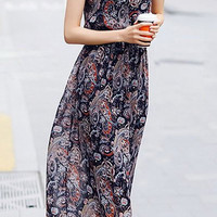 Paisley Print Sleeveless Chiffon Dress