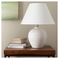 Carved Ceramic Table Lamp - Cream - Threshold™