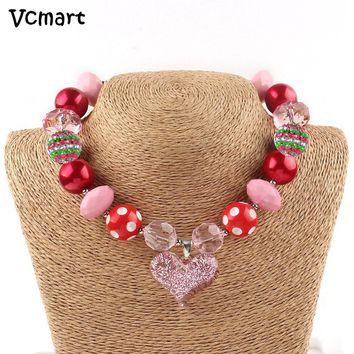 Heart Crown Chunky Bubblegum Necklace Queen of Hearts Teen Valentine