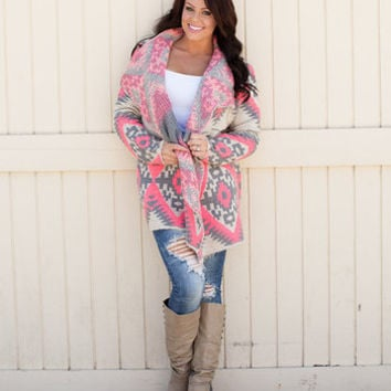Delighted Pink Aztec Cardigan