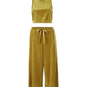 Green Ribbed Velvet Vest And Culottes Pyjama Set