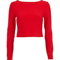 Red textured long sleeve crop top - crop tops / bralets / bandeau tops - tops - women