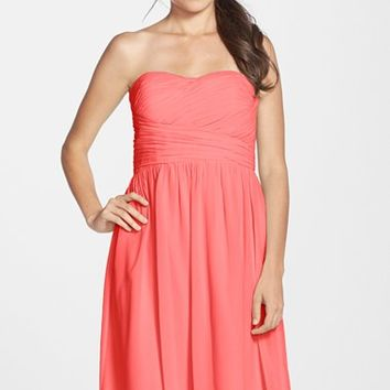 Women's Donna Morgan 'Sarah' Strapless Ruched Chiffon Dress