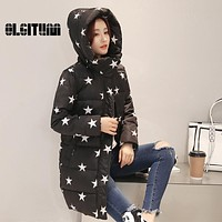 2017 Winter Women Coat Slim Fit High Neckline Lady Hooded Jacket With Star Print Regular Length Thick Warm Outfit Female Coat
