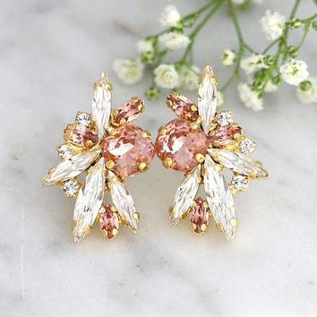 Blush Earrings, Bridal Blush Earrings, Morganite Bridal Earrings, Bridesmaids Earrings, Swarovski Pink Blush Crystal Bridal Earrings.