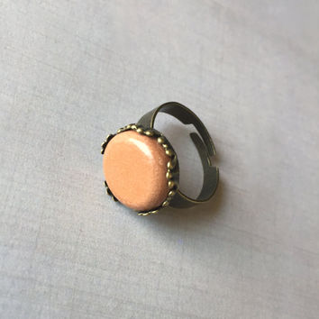 Victorian Terracotta Clay Diffuser Ring - Essential Oils -Antique Brass Adjustable Round Terra Cotta Aromatherapy
