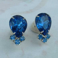 Fab Inverted Pineapple Blue Sapphire Rhinestone Screw Earrings Jewelry