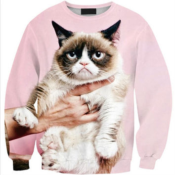 Womens Mens 3D Print Realistic Space Galaxy Animals Hoodie Sweatshirt Top Jumper Pink cat SWS0215