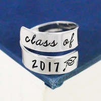 Class of 2017 Wrap Ring - Graduation Gift - Adjustable Aluminum Wrap Ring