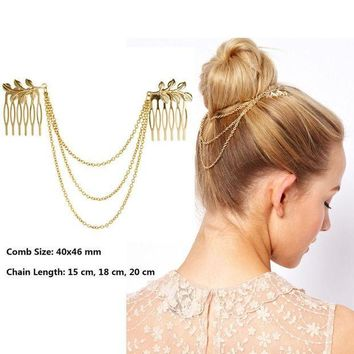 CREYCI7 Hot Cheap-fine Vintage Hair Accessories Double Gold Chain With Leaf Comb Head New Headbands For Women Girl Lady Free shipping