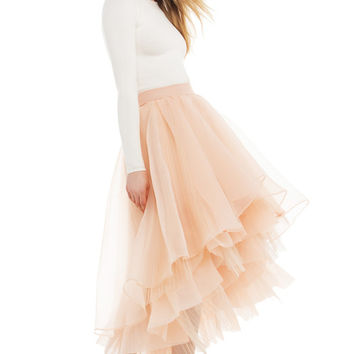 Gracia Sheer Layered High-Low Tulle Skirt - Peach