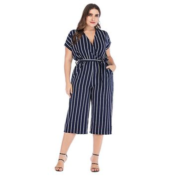 Striped  Plus Size  Sleeves Mid Calf Length Jumpsuit