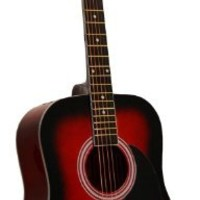 "41"" Inch Full Size Red Handcrafted Steel String Dreadnought Guitar & DirectlyCheap(TM) Translucent Blue Medium Guitar Pick (PRO-1 Series)"