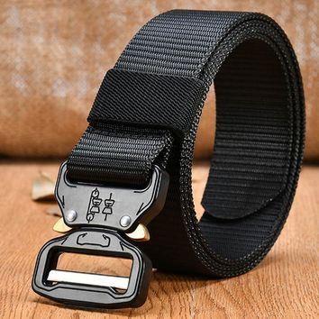 Men's Canvas Belt Combat Military Equipment Tactical Strap Nylon Metal Buckle US Army Soldier Carry Waistband
