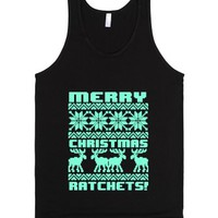Merry Christmas Ratchets Tiffany Ugly Holiday Sweater-Black Tank