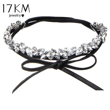 17KM Collar Flower Crystal Long Choker Necklace Layer 2017 Bow Pendant Leather Chokers Tassel Statement Collier Fashion Jewelry