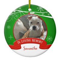 In Loving Memory Pet Photo Red Green Christmas Ceramic Ornament