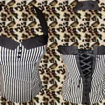 Psychobilly/ rockabilly / pinup/ 50s / retro / vintage sailor collar pinstriped print corset top. Size: xs, s, m, l, xl