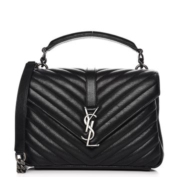 SAINT LAURENT Sheepskin Matelasse Chevron Medium College Monogram Bag Black