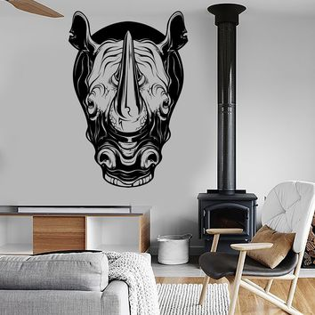 Vinyl Wall Decal Rhino Head Animal Tribal Art Rhinoceros Stickers Unique Gift (ig3958)