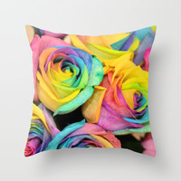 Rainbowlicious Throw Pillow by Lisa Argyropoulos