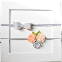 Felt Flower Headband Set - grey bow headband and peach rose trio headband, skinny flower headbands, Newborn headband