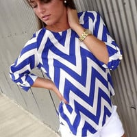 Cobalt Chevron Top | The Rage