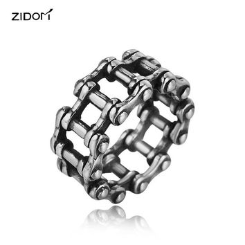 High quality punk style Bicycle chain Men rings silver color fashion Stainless Steel High quality steampunk ring male jewelry