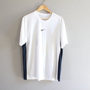 US Free Shipping Nike T-shirt White Oversized Pullover Short Sleeves Activewear Loose-fit Vintage Retro 90s Size L #T112A